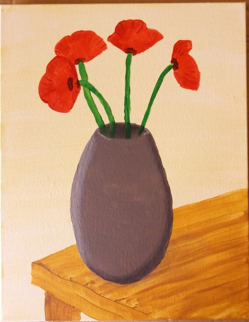 Original painting, acrylic on canvas, of the corner of a wooden table with a grey vase holding four red poppies