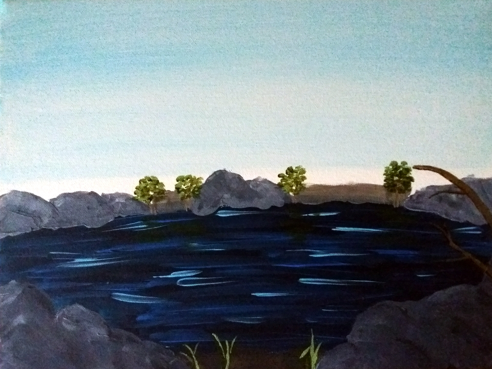 A painting, acrylic on canvas, of a river flowing between rocky shores under a blue sky