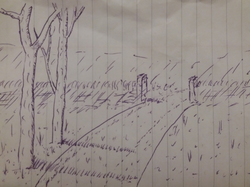 A sketch in pen on lined paper of a track curving away, through a gate in a wall. Two trees stand by the side of the track, casting shadows across it