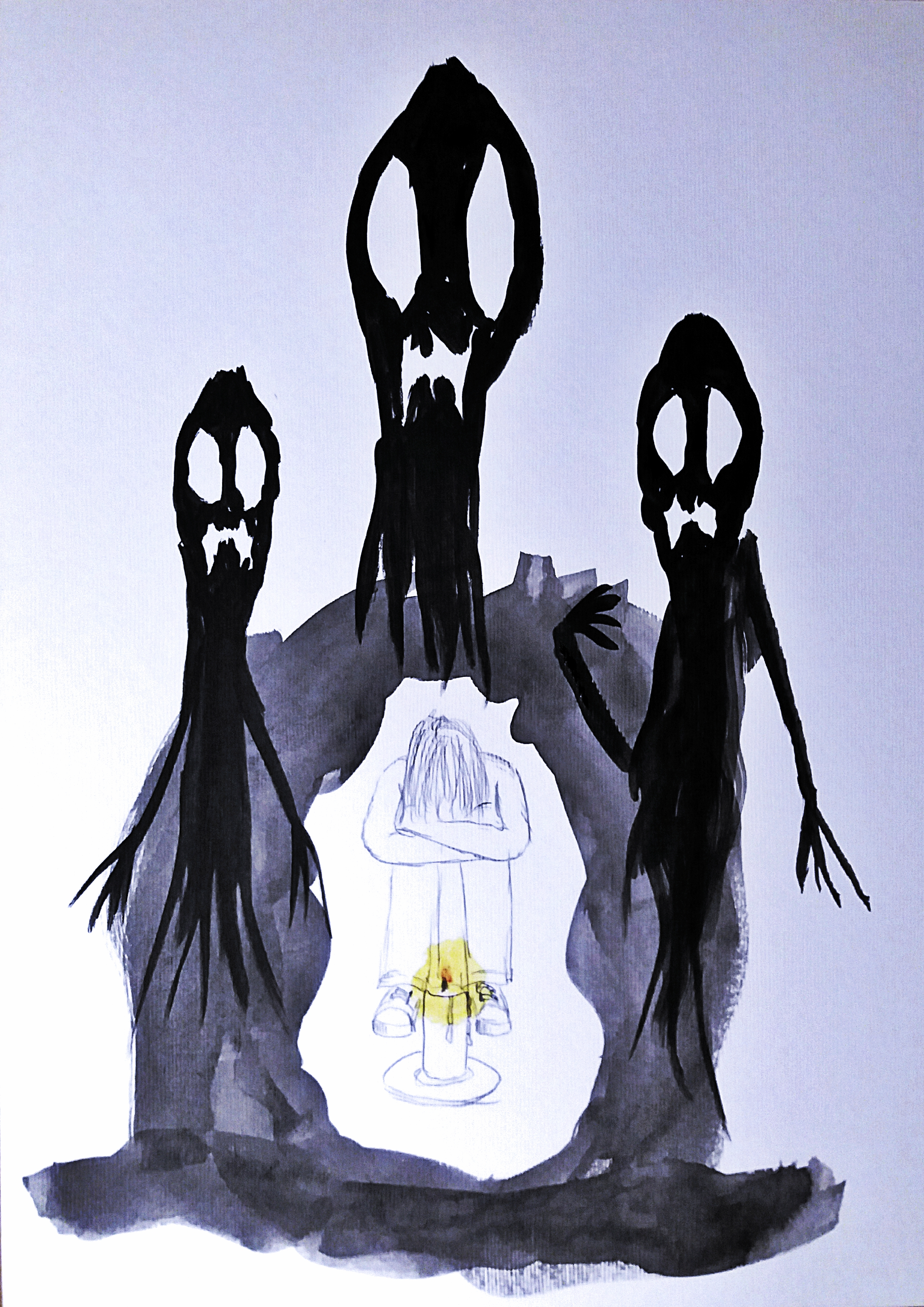 A pencil and acrylic sketch on paper of a girl sat looking dejected, arms around her knees and head down, in front of a lit candle with a glowing halo around the flame. Around her is darkness out of which are rising black nightmare figures