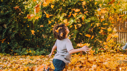 A child skips amidst a shower of fallen leaves